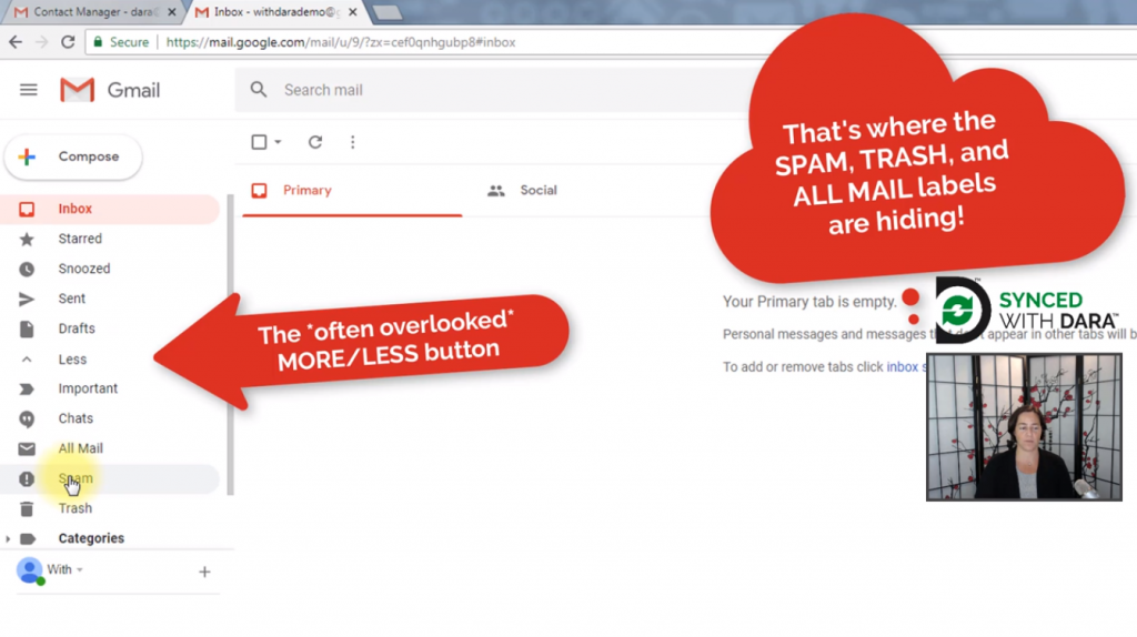 Learn how to find your spam and trash folders in the new Gmail interface.